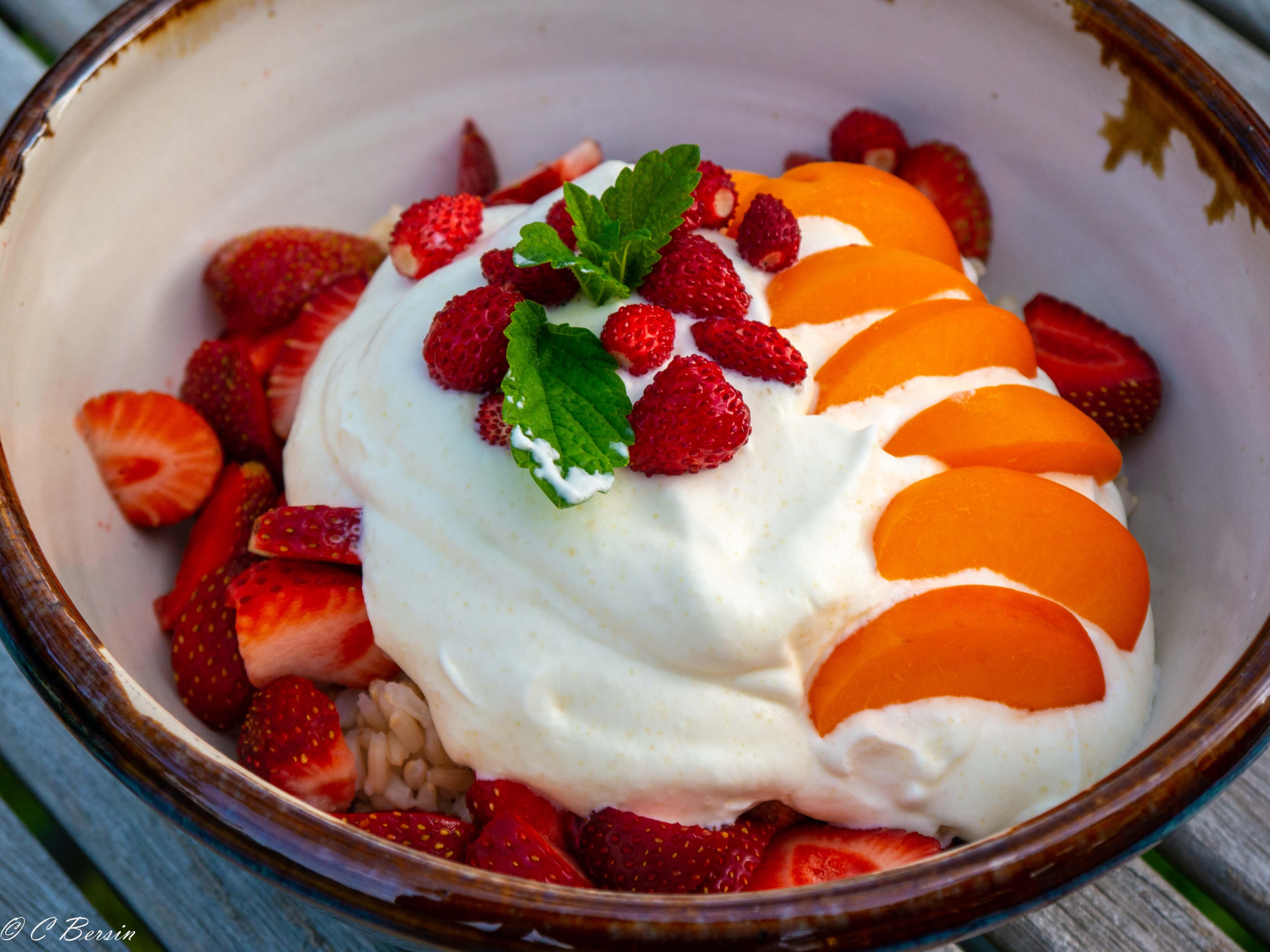 Reis mit Erdbeeren